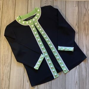 MING WANG black/green sweater/ cardigan. Size PXS
